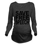 savefreespeechblockblk.png Long Sleeve Maternity T