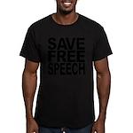 savefreespeechblockblk.png Men's Fitted T-Shirt (d