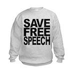 savefreespeechblockblk.png Kids Sweatshirt