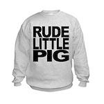 rudelittlepigblk.png Kids Sweatshirt