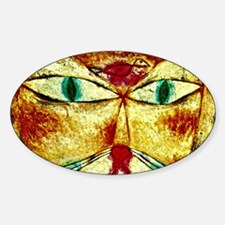 Cat and Bird, Paul Klee painting Sticker (Oval)