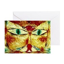 Cat and Bird, Paul Klee painting Greeting Card