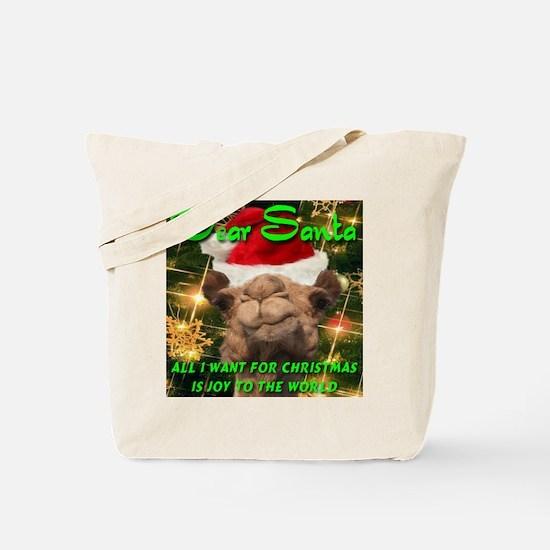 Dear Santa Hump Day Camel Joy to the World Tote Ba