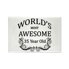 World's Most Awesome 35 Year Old Rectangle Magnet
