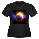 Solar Eclipse Women's Plus Size V-Neck Dark T-Shir