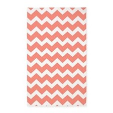 Coral White Chevron Pattern 3'x5' Area Rug
