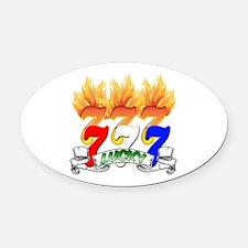 Lucky Sevens Oval Car Magnet