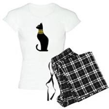 Black Eqyptian Cat with Gold Jeweled Collar Pajama