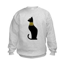 Black Eqyptian Cat with Gold Jeweled Collar Sweats