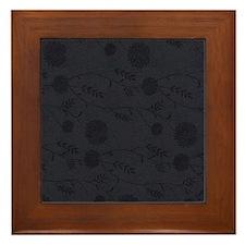 Black Leather And Flower Effect Framed Tile
