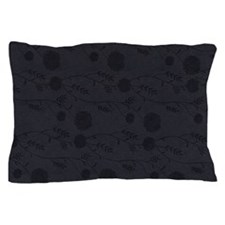 Black Leather And Flower Effect Pillow Case