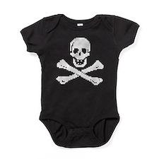 Pixel Skull White Baby Bodysuit