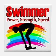#1 SWIMMER Tile Coaster