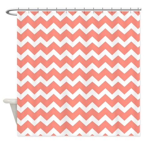 Coral White Chevron Pattern Shower Curtain By DreamingMindCards