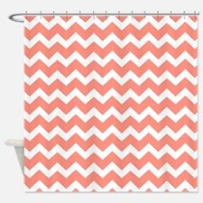 Coral White Chevron Pattern Shower Curtain