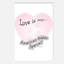 Love is my American Water Spaniel Postcards (Packa