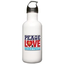 Peace Love and Basketball Water Bottle
