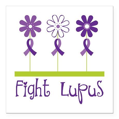 "Lupus Awareness Daisy Square Car Magnet 3"" x 3"""