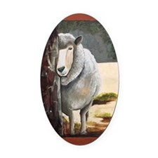Morning Ewe Oval Car Magnet