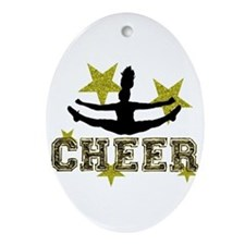 Cheerleader Gold and Black Ornament (Oval)