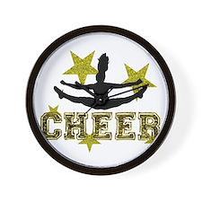 Cheerleader Gold and Black Wall Clock
