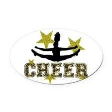 Cheerleader Gold and Black Oval Car Magnet