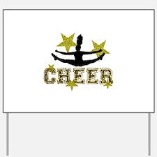 Cheerleader Gold and Black Yard Sign