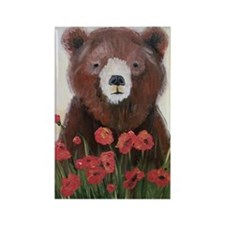 Bear In Poppies Rectangle Magnet