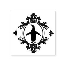 "Ornate Penguin Square Sticker 3"" x 3"""
