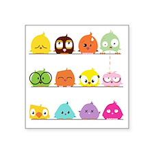 "Playful Birdy Square Sticker 3"" x 3"""