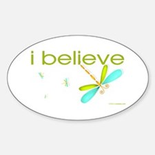 I believe in Dragonflies Oval Decal
