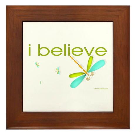 I believe in Dragonflies Framed Tile
