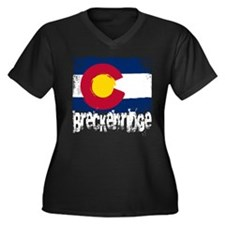 Breckenridge Grunge Flag Women's Plus Size V-Neck