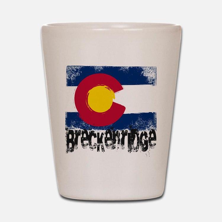 Breckenridge Grunge Flag Shot Glass