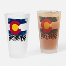 Breckenridge Grunge Flag Drinking Glass