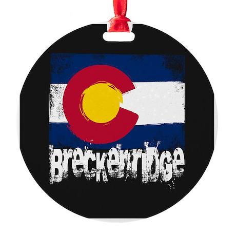 Breckenridge Grunge Flag Round Ornament
