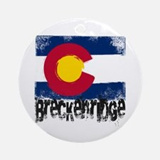Breckenridge Grunge Flag Ornament (Round)
