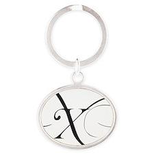 X Oval Keychain