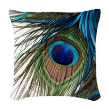 Peacock Feathers Woven Throw Pillow