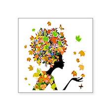 "Flower Power Lady Square Sticker 3"" x 3"""