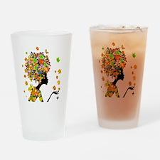 Flower Power Lady Drinking Glass