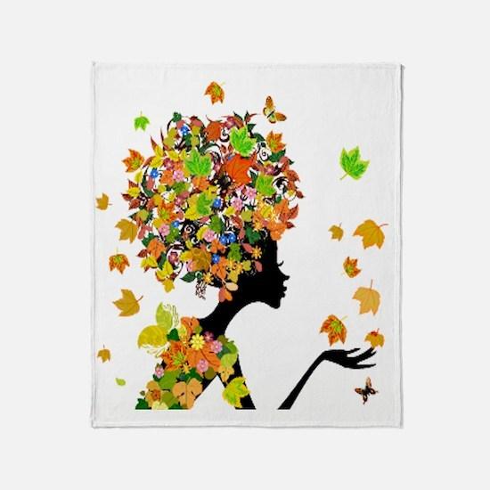 Flower Power Lady Throw Blanket
