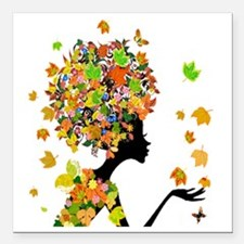 "Flower Power Lady Square Car Magnet 3"" x 3"""