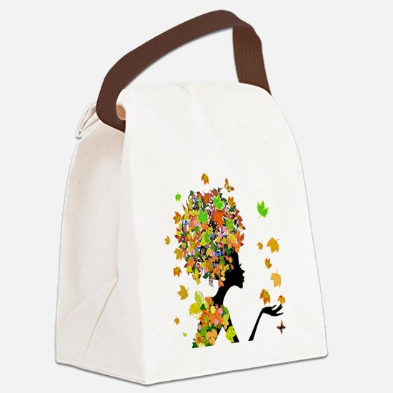 Flower Power Lady Canvas Lunch Bag