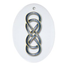 Double Infinity Cloisonne Blue Gold - Ornament (Ov