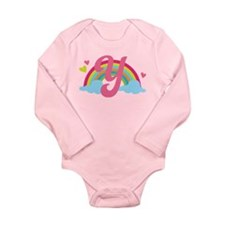 Letter Y Rainbow Monogrammed Long Sleeve Infant Bo