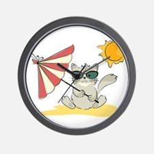 Cool Beach Cat with Umbrella and Sunglasses Wall C