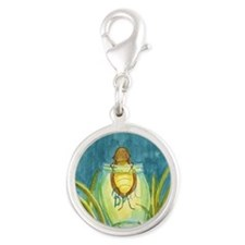 Light In A Jar Silver Round Charm