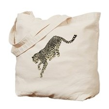 Jumping Tan Black Colored Cheetah Tote Bag
