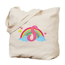 Letter S Rainbow Monogrammed Tote Bag